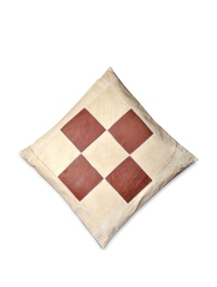 Brown And Beige Block Pattern Cushion Cover - Brune