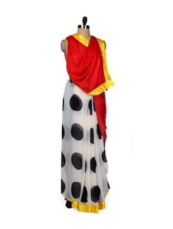 Bright Polka Dot Print Saree - ROOP KASHISH