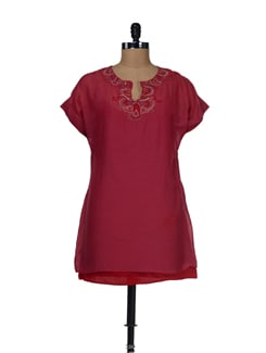 Embroidered Red Top - LY2