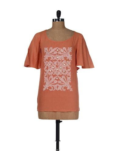 c268e2c0c87 Uptown Girl - Buy Beige Skirts, Printed Orange Tops with Beige Pumps ...