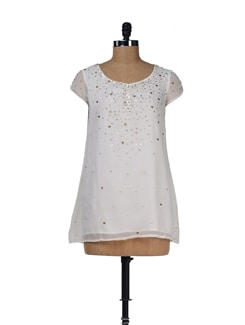 Sequined White Top - LY2