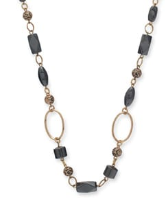 Black & Gold Hematite Long Necklace - Ivory Tag