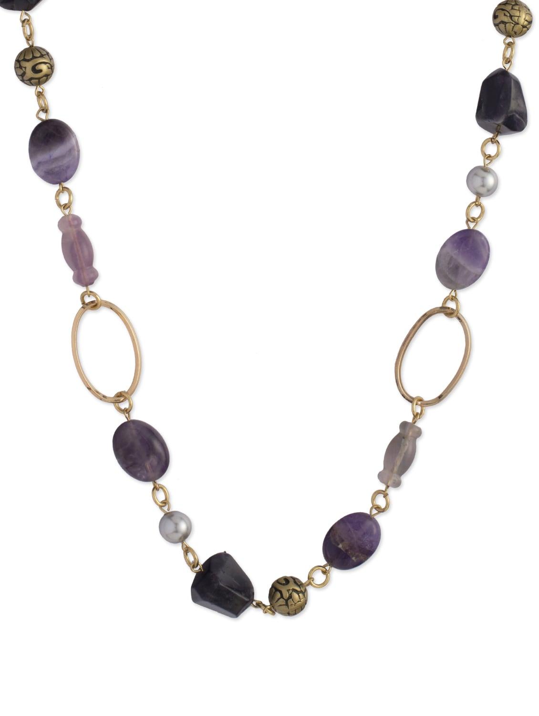 Elegant Purple & Gold Necklace - Ivory Tag