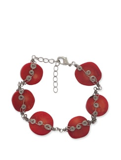 Trendy Red & Silver Bracelet - Ivory Tag