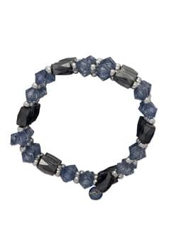 Blue Beaded Magnetic Hematite Bracelet - Ivory Tag