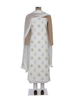 Silver & Gold Flower Embroidered Suit Piece - Ada 27434