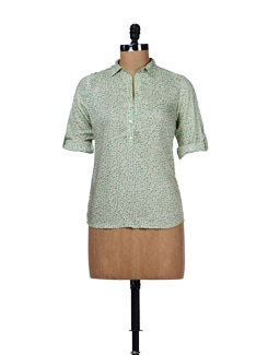 Printed Green Collar Top - Chemistry