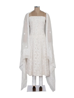 White Embroidered Anarkali Piece - Ada