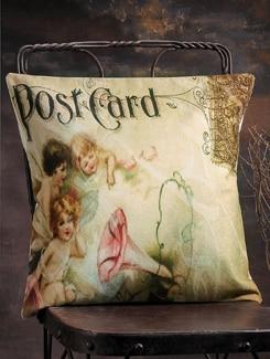 Angelic Postcard Print Cushion Cover - Veva's