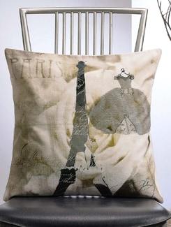 Dress And Eiffel Tower Print Cushion Cover - Veva's