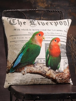 Pair Of Birds Print Cushion Cover - Veva's