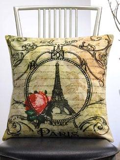 Vintage Eiffel Tower Print Cushion Cover - Veva's