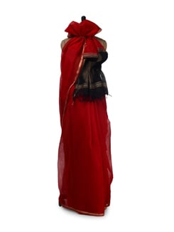 Classic Red Cotton Silk Ikat Saree - Aryaneel