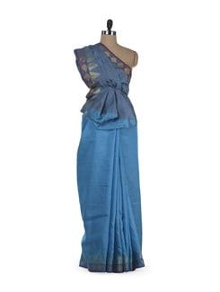 Blue & Gold Two-Tone Silk Saree - Sakrip