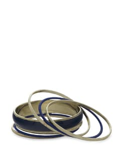 Set Of 7 Bangles In Blue And Gold - Toniq