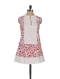 Red & White Printed Smock Waist Tunic - ENAH