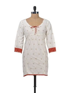 White Printed Tunic With Three-fourth Sleeves - Bohemyan Blue