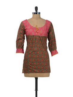 Pink Printed Tunic With Three-fourth Sleeves - Bohemyan Blue