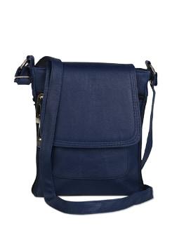 Elegant Blue Leather  Sling Bag - ALESSIA