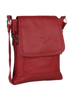 Stylish Cherry Red Leather Sling Bag - ALESSIA