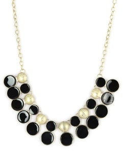 Black & Gold Circular Discs Necklace - F.A.D.