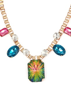 Golden Metal Necklace With Multi Hued Stones - F.A.D.