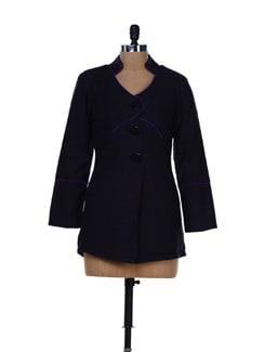 Black Woollen Jacket With A Mandarin Collar - MARTINI