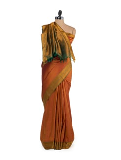 Dull Orange Woven Silk Saree - Saboo