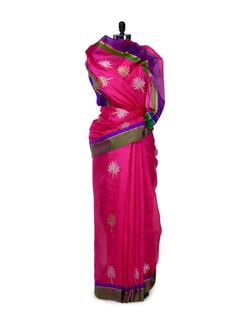 Hot Pink Floral Silk Saree - Saboo