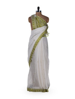 White & Green Gari Style Saree - MAKU