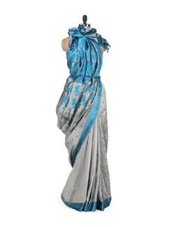 Grey & Blue Traditional Silk Saree - MAKU