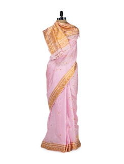 Pink & Orange Floral Silk Saree - MAKU