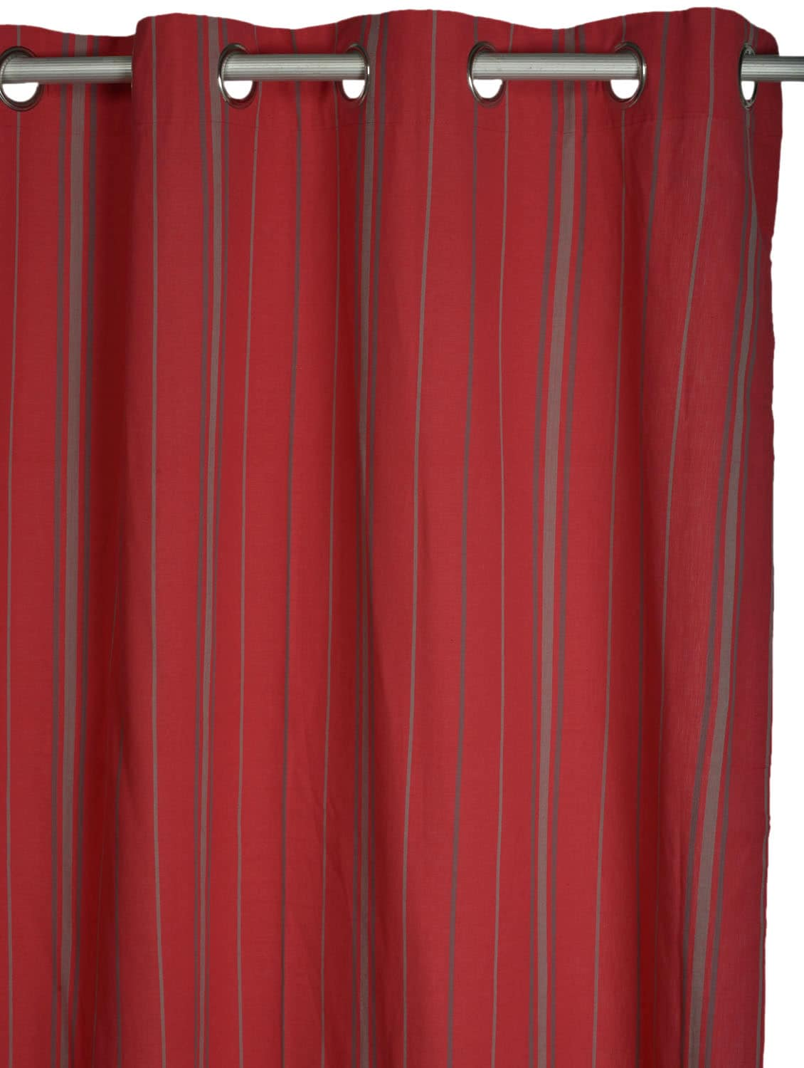 Red Striped Cotton Curtain