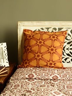 Floral Print Brown Cushion Cover - HOUSE THIS