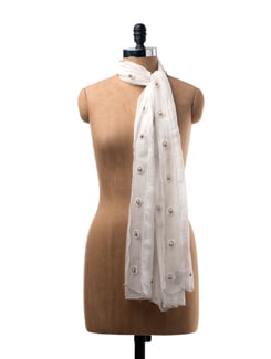 Silk Chiffon Stole With Hand Embroidery - WELKIN