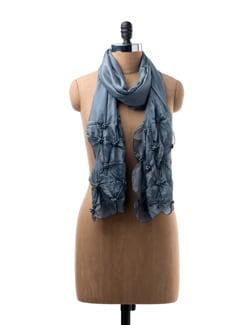 Dark Grey Silk Scarf With Beaded Embroidery - WELKIN