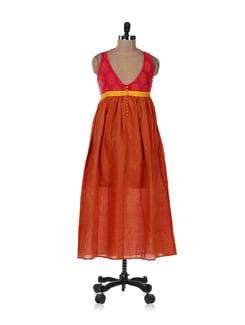Orange & Pink Printed Kurta - Desiweaves