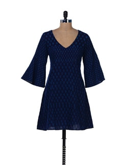 Navy Printed Dress With Flared Cuffs - Desiweaves