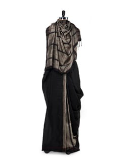 Grey And Black Striped Silk Saree - Story Of Weaves