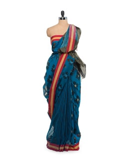 Black And Blue Jacquard Saree - Story Of Weaves
