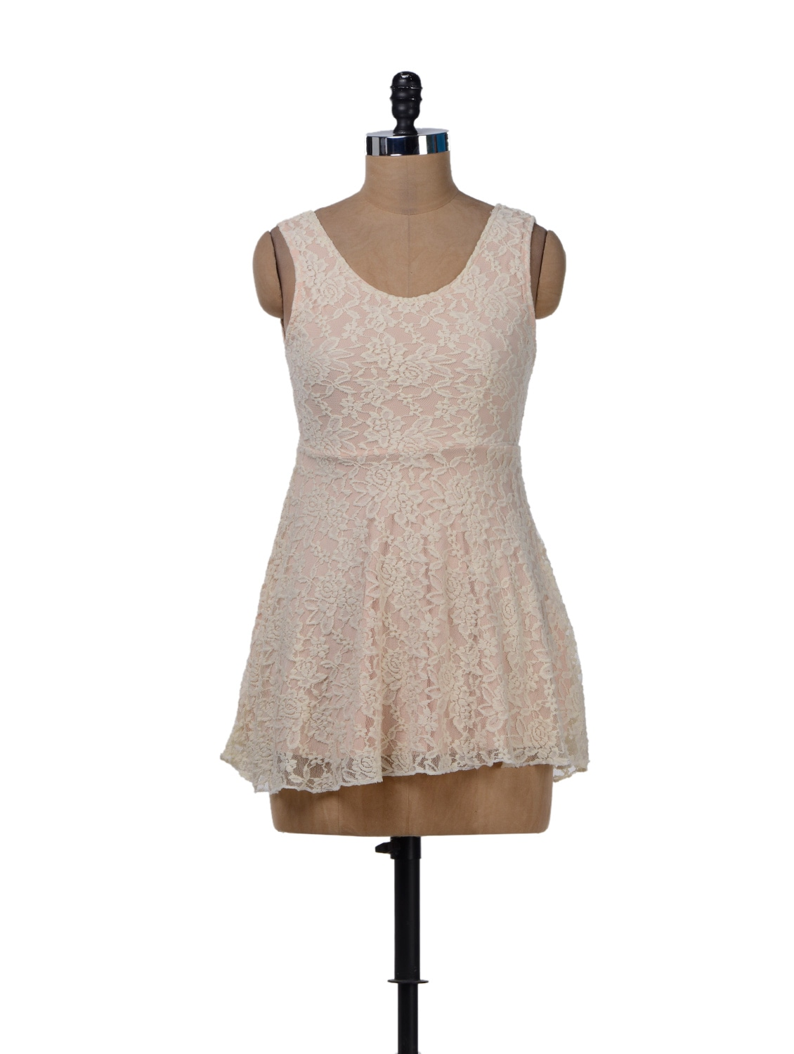 Off White Lace Dress With A Cut Out Back - Sanchey