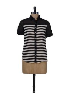Flowy Black & White Striped Shirt - Miss Chase