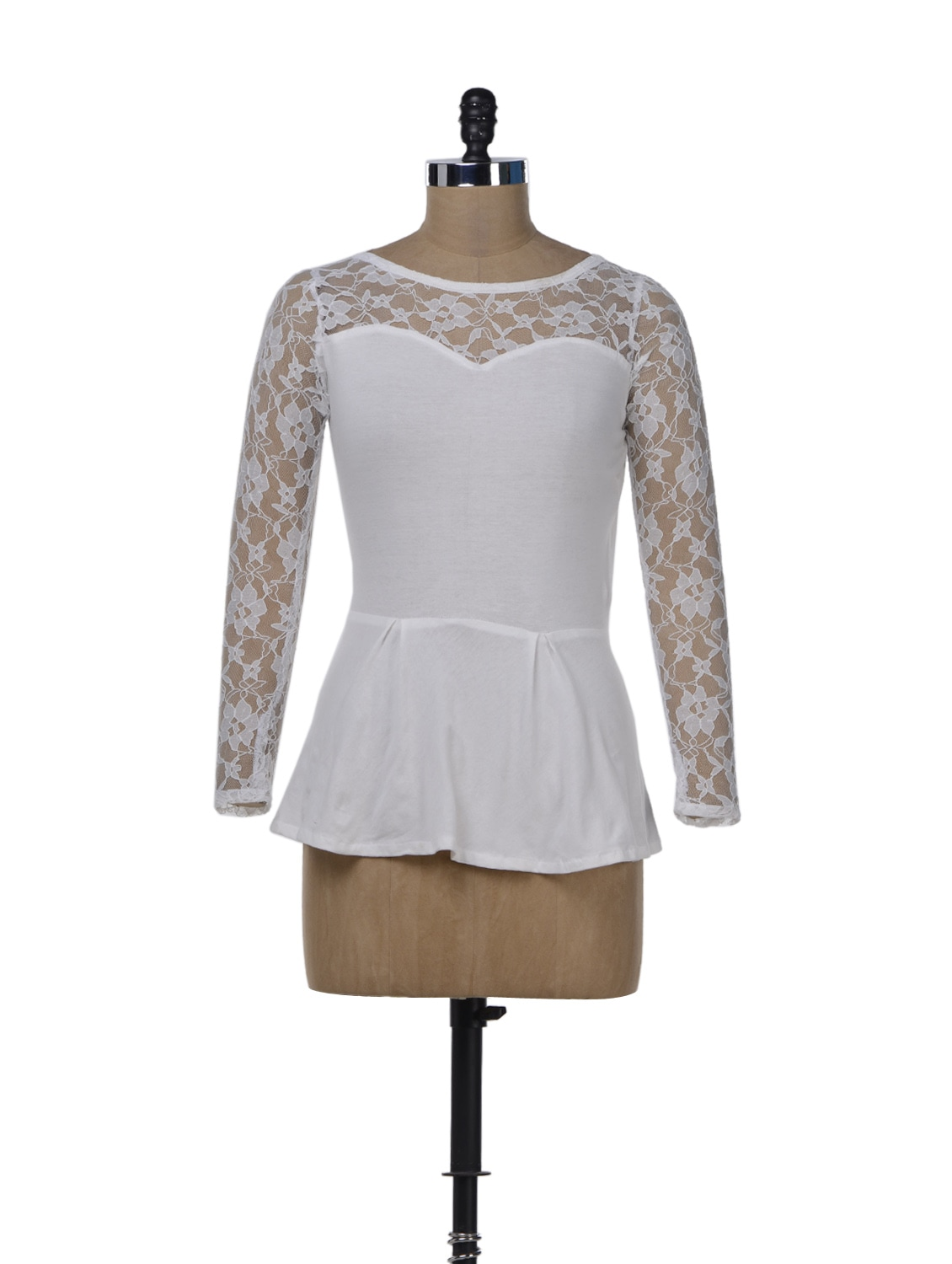 White Lace Party Peplum Top - Miss Chase