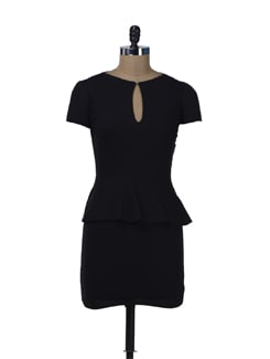 Elegant Black Peplum Dress - Miss Chase