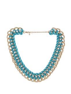 Sparkling Blue & Gold Braided Necklace - Miss Chase