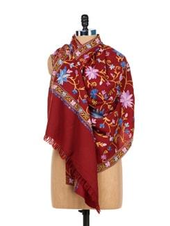 Maroon Floral Embroidered Shawl - Vayana