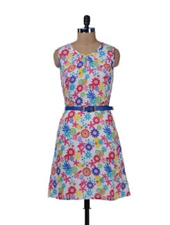 Multicoloured Floral Belt Dress - MARTINI