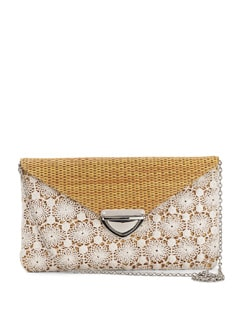 Yellow And White Jute Clutch - Nineteen