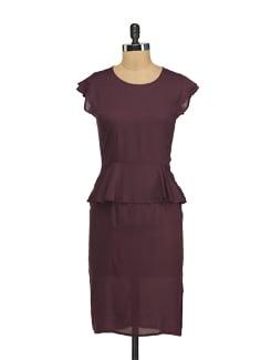 Purple Peplum Pace Dress - Nineteen