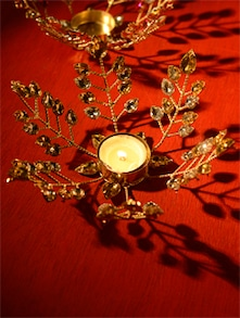 Gold Leaves Tea Light Candle Holder - Ambbi Collections
